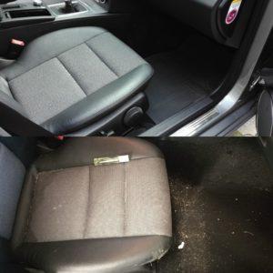 Czyszczenie tapicerki Mercedes C180 - przed i po