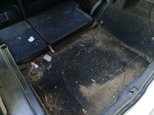 Czyszczenie tapicerki VW Golf - bagażnik przed